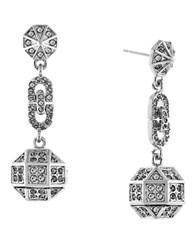 Louise Et Cie Rhodium Plated Post Drop Earrings Silver