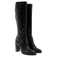 Mint Velvet Ruby Stacked High Heel Leather Knee Boots Black