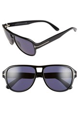 Women's Tom Ford 'Dylan' 57Mm Sunglasses Shiny Black Blue