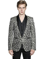 Just Cavalli Leopard Jacquard Wool Lurex Jacket