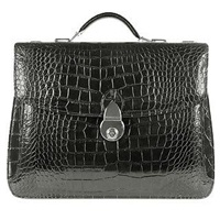 L.A.P.A. Shiny Black Croco Embossed Double Gusset Briefcase