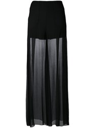 Mcq By Alexander Mcqueen Semi Sheer Palazzo Pants Women Silk Polyester 40 Black
