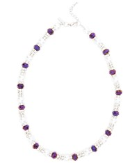 Viyella Purple Facet Pearl And Diamente Necklace
