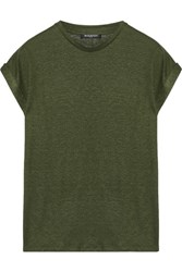 Balmain Slub Linen Blend T Shirt Army Green