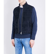 Corneliani Quilted Suede Gilet Navy