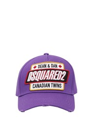 Dsquared Embroidered Patch Cotton Canvas Hat Purple