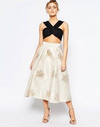 Coast Lyra Full Midi Skirt In Foil Jacquard Multi