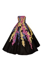 Oscar De La Renta Strapless Tea Length Gown With Embellishment Black