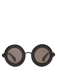 Christopher Kane Round Frame Acetate Sunglasses Black