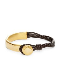 Uno De 50 Golden Leather Bangle Bracelet