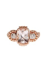 Savvy Cie 18K Rose Gold Plated Sterling Silver Cushion Cut Morganite And Diamond Ring Pink