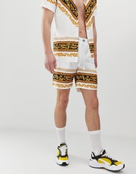 Criminal Damage Co Ord Shorts In White With Baroque Print
