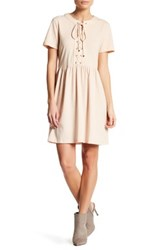 English Factory Lace Up Knit Baby Doll Dress Beige