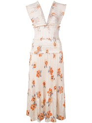 Nicholas Floral Party Dress Neutrals