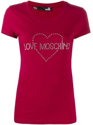 Love Moschino Embellished Logo T Shirt Red