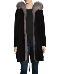 Moncler Veronika Fur Lined Gabardine Coat Black