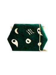 Lilly Sarti Velvet Clutch Women Metallized Polyester One Size Green