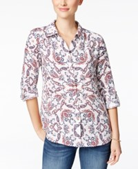 Charter Club Linen Print Shirt Only At Macy's Bright White Combo