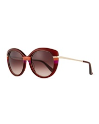 Salvatore Ferragamo Butterfly Sunglasses With Golden Detail Wine
