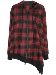 Unravel Project Asymmetric Tartan Hoodie Dress Red