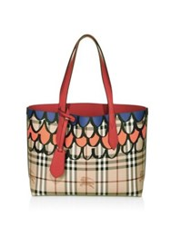 Burberry Haymarket Graphic Printed Small Reversible Tote Poppy Red