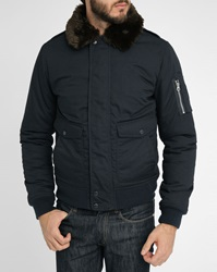 Schott Nyc Navy Fur Collar Nylon Flight Jacket
