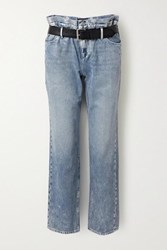 Rta Dexter Belted Distressed Metallic High Rise Straight Leg Jeans Light Blue