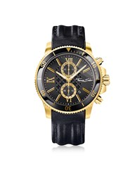 Thomas Sabo Men's Watches Rebel Race Gold Stainless Steel Men's Chronograph Watch W Black Leather Strap