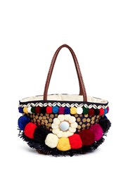 Figue 'Zena Tuk Tuk' Pompom And Ethnic Coin Canvas Tote Multi Colour