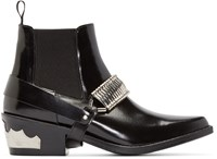 Toga Pulla Black Harness Chelsea Boots