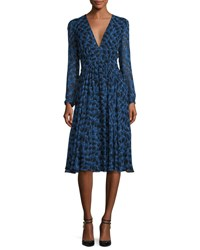 Derek Lam Long Sleeve Python Print Silk Dress Blue Allium