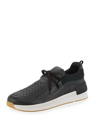 Bottega Veneta Intrecciato Leather Low Top Sneakers Green