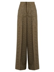 Red Valentino Eyelet Embellished Wool Tweed Trousers Brown Multi