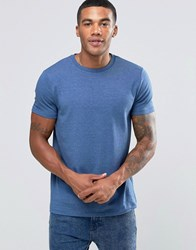 Asos Muscle T Shirt With Crew Neck In Blue Marl Dark Denim Marl