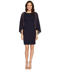 Adrianna Papell Cynthia Lace Cape Sheath Dress Navy Women's Dress