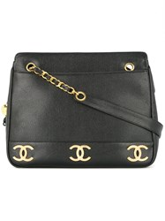 Chanel Vintage Interlocking Ccs Shoulder Bag Black