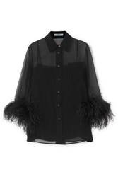 Prada Feather Trimmed Silk Georgette Blouse Black