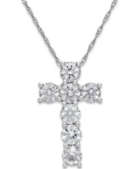 Macy's White Sapphire Cross Pendant Necklace In 14K White Gold 1 1 4 Ct. T.W.