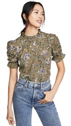 Moon River Ruched Sleeve Top Hunter Green Multi
