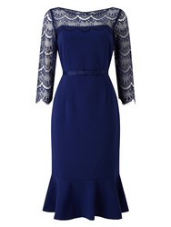 Jacques Vert Lace Yoke Ponte Dress Dark Blue