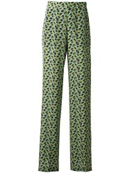 Etro Floral Print Flared Trousers Green