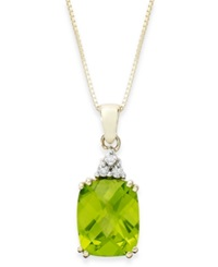 Macy's 14K Gold Necklace Peridot 3 1 4 Ct. T.W. And Diamond Accent Rectangle Pendant