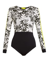 The Upside Bamboo Print Performance Paddle Suit Black Multi