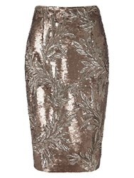 Phase Eight Nasia Short Sequin Skirt Bronze
