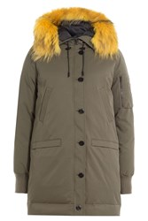 Kenzo Parka With Raccoon Fur Hood Green