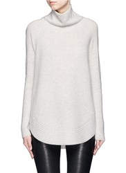 Vince Side Zip Wool Cashmere Turtleneck Sweater Grey