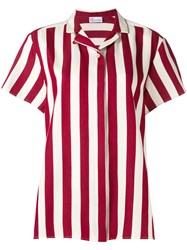 Red Valentino Striped Short Sleeve Shirt Women Silk Cotton 44 Red