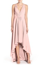 Monique Lhuillier Bridesmaids Women's Deep V Neck Chiffon High Low Gown Shell