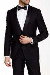 Paisley And Gray Black Solid Slim Fit Peak Lapel One Button Tuxedo Jacket