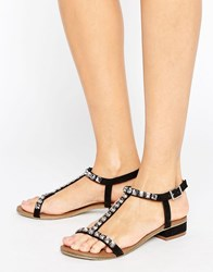 Little Mistress Black Sandals With T Bar And Gold Studs Black